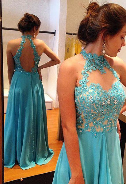 Fashion Halter Blue Lace Chiffon Backless Beaded Long Prom Dress Evening Party Dresses LD912