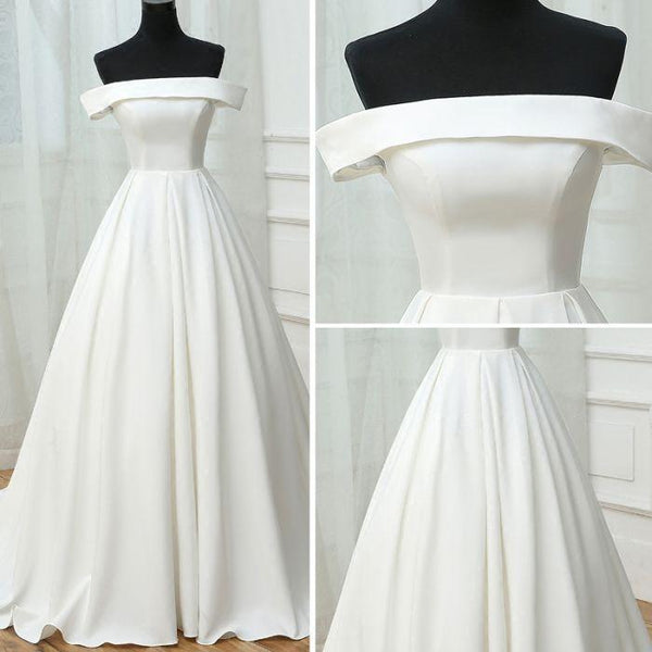 Real Picture Ivory Off the Shoulder A Line Elegant Wedding Dresses Bridal Dress Weding Gowns LD913