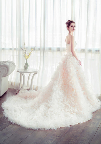 Luxurious Strapless Lace Tiered Skirt Hand Flowers Wedding Dresses Bridal Dress Weding Gown LD914