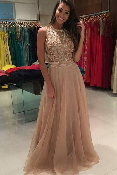 Stunning A Line See Through Back Beaded Sleeveless Prom Dress Evening Gown Party Dresses LD916