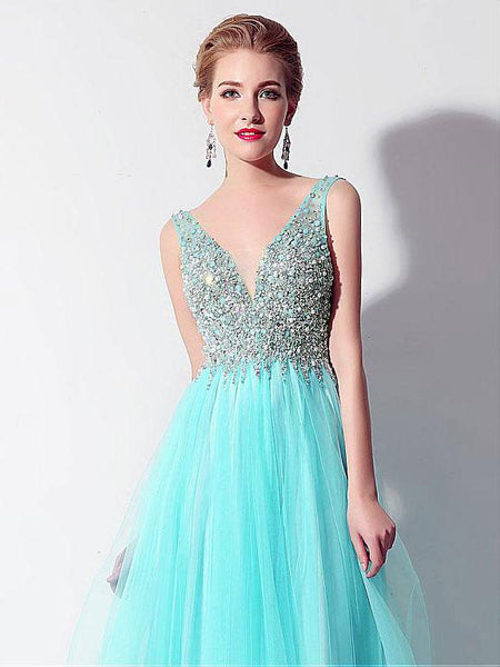 Off the Shoulder V Neck Sleeveless Aqua A Line Prom Dress Evening Gown Party Dresses LD919