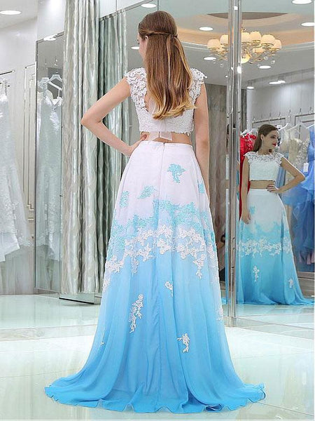 New Arrival 2 Pieces Cap Sleeves White Lace Acid Blue Ombre Prom Dresses Evening Dress LD930
