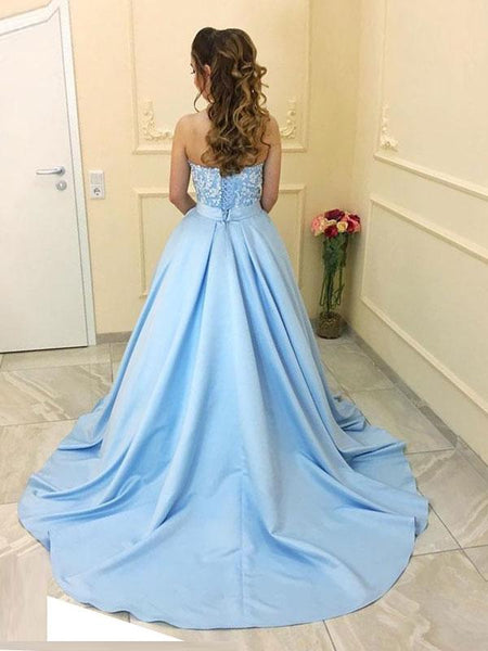A Line Light Blue Satin Sweetheart Prom Dress Evening Gown Party Dresses With Lace Back Up LD931
