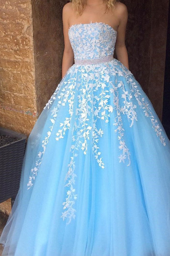 Fashion White Lace Sky Blue Tulle Strapess Prom Dresses Evening Gowns Graduation Dress LD936
