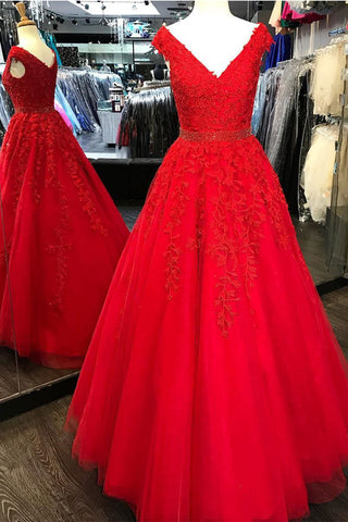 Off the Shoulder V Neck Red Lace Beaded Prom Dresses Evening Dress Party Gowns LD938