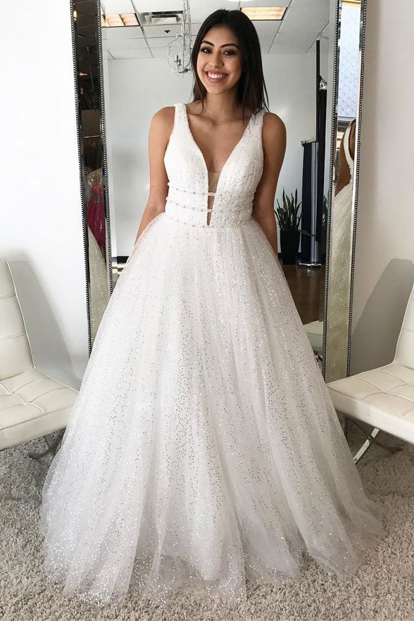 Chic Deep V Neck Off the Shoulder Sequin Ivory Ball Gown Prom Dresses Evening Party Dress LD939