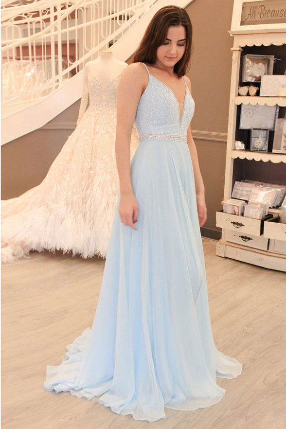 Light Blue V Neck Spaghetti Straps Backless Long Prom Dresses Evening Dress Party Gown LD940