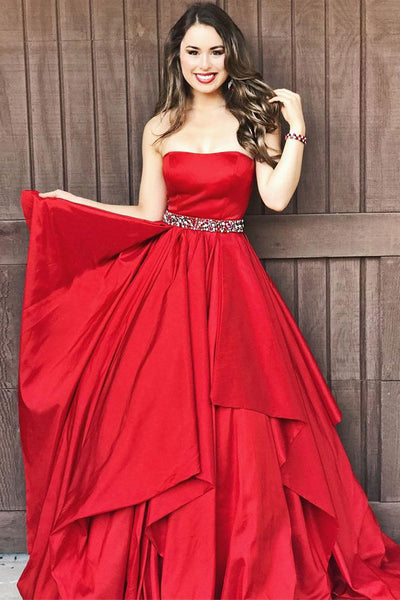 Fashion Red Strapless Tiered Skirt Prom Dresses Evening Dress Party Gowns With Beaded Belt LD941