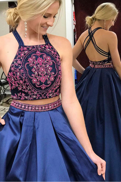 Chic 2 Pieces Backless Embroidery Navy Blue Ball Gown Prom Dresses Evening Dress LD942