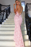 Sexy Pink Lace Straps Open Back Mermaid Long Prom Dresses Evening Party Dress LD943