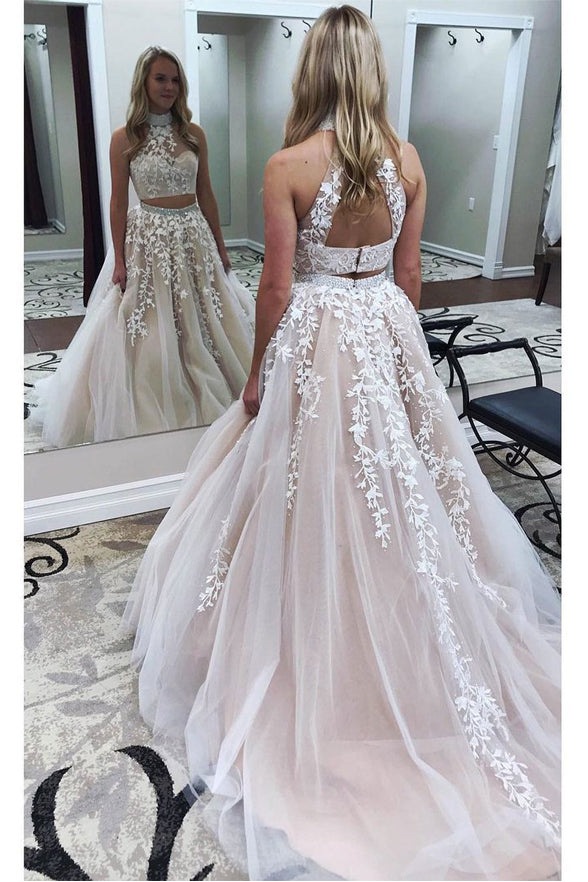 New Arrival White Lace Appliques Two Pieces Halter Backless Prom Dresses Evening Party Dress LD945