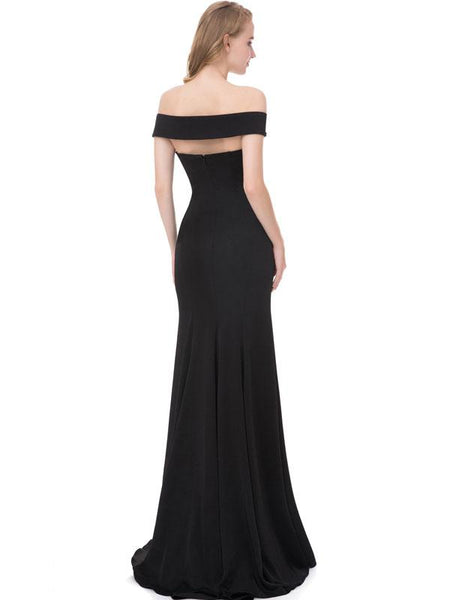 Elegant Backless Off the Shoulder Black Mermaid Long Prom Dresses Evening Party Dress LD946