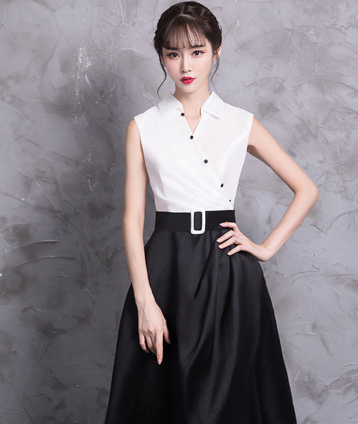 New Arrival Stand Collar White/Black Split A Line Long Prom Dresses Evening Party Dress LD948