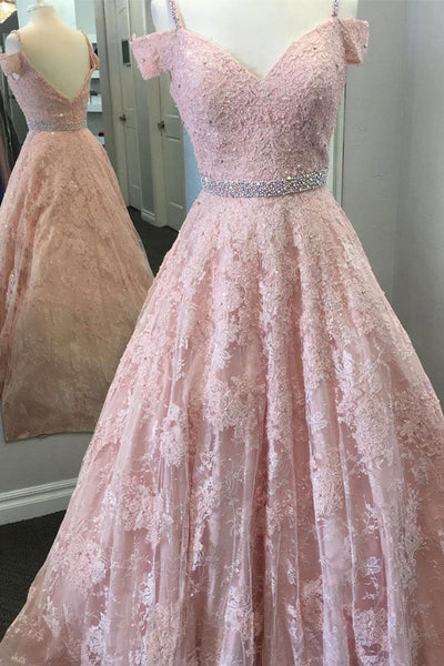A Line Princess Pink Lace Backless Drop Sleeves Prom Dresses Evening Gown Party Dress LD951