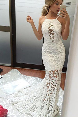 White Lace Straps See Through Mermaid Long Wedding Dresses Prom ...
