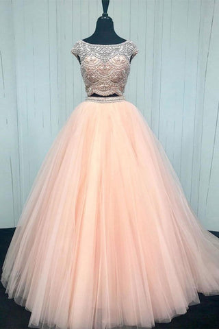 2 Pieces Cap Sleeves Ball Gown Prom Dresses