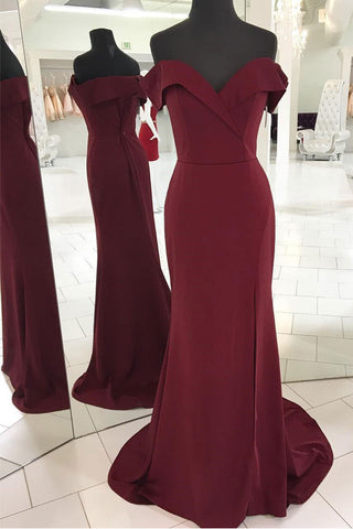 498ec367612 Off the Shoulder Burgundy Mermaid Slit Long Prom Dresses Evening Dress –  Laurafashionshop