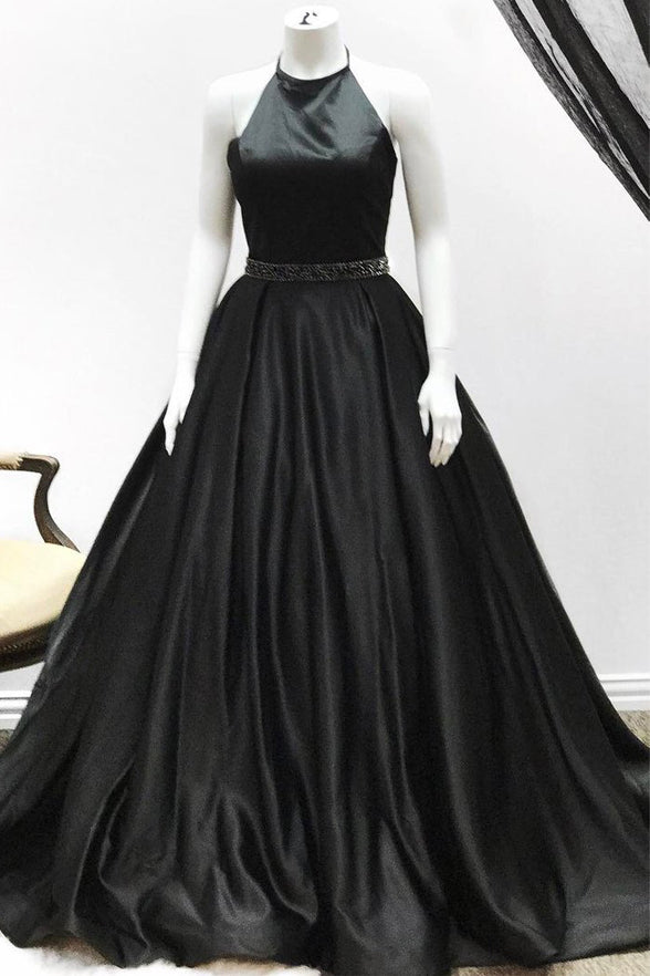 A Line High Neck Black Satin Cheap Prom Dresses Evening Dress Party Gowns LD957