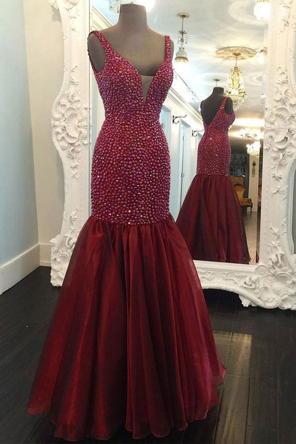 Chic V Neck Burgundy Mermaid Rhinestones Prom Dresses Evening Dress Party Gowns LD958