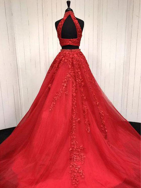 Fashion Lace Appliques Backless 2 Pieces Red Prom Dresses Evening Gowns Party Dress LD959