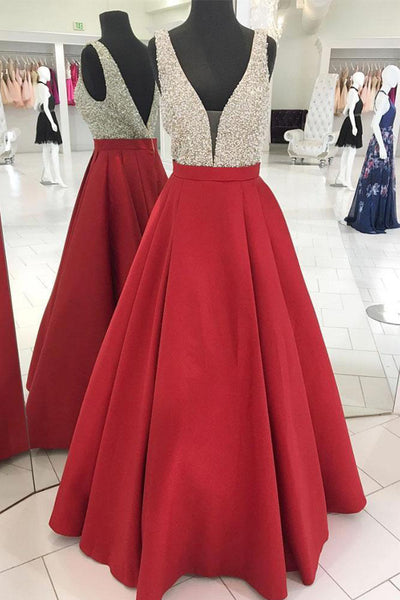 A Line V Neck Red Satin Beads Backless Long Prom Dresses Evening Gowns Party Dress LD960