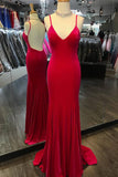 Simple Spaghetti Straps Backless Mermaid V Neck Cheap Prom Dresses Evening Gown Party Dress LD962