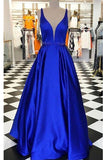 Off the Shoulder V Neck Royal blue Satin Long Prom Dresses Evening Gown Party Dress LD963