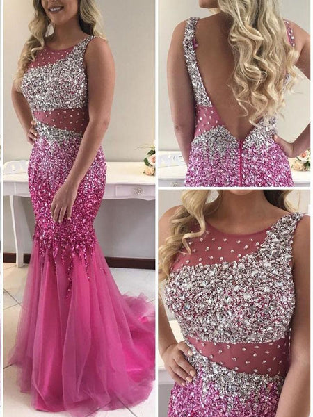 Chic Backless Hot Pink Heavy Beads Mermaid Tulle Sleeveless Prom Dresses Evening Party Dress LD966