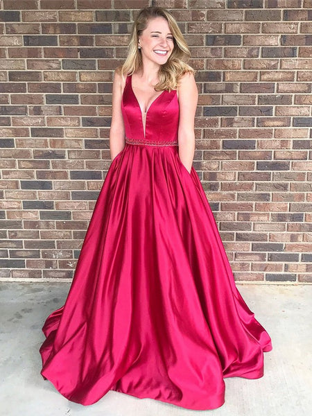 A Line Princess V Neck Hot Pink Satin Prom Dresses Evening Gown Party Dress With Pocket LD968