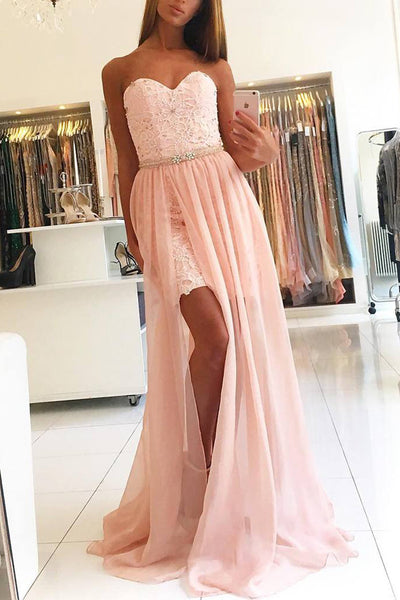 New Arrival Pink Lace Sweetheart Slit Beaded Long Prom Dresses Evening Gowns Party Dress LD969