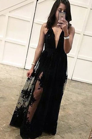 Deep V Neck Black Lace Sexy Prom Dresses,A Line Long Prom Dress Evening Party Dress LD970