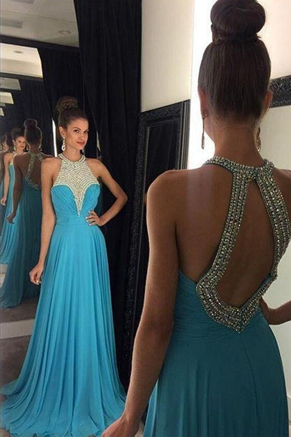 Chic A Line Blue Chiffon Halter Backless Long Prom Dresses Evening Gowns Party Dress LD971