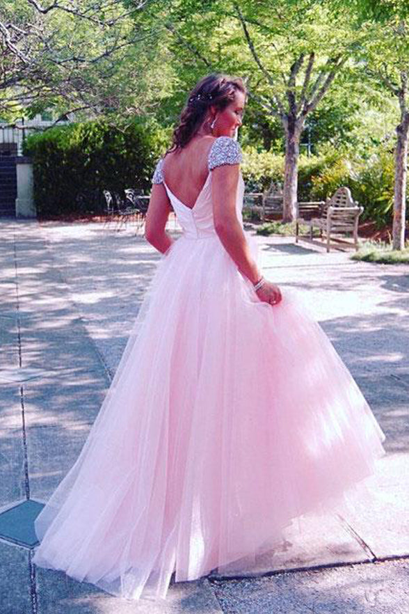 A Line Cap Sleeves Back V Pink Tulle Long Prom Dress Evening Gowns Formal Woman Dresses LD978