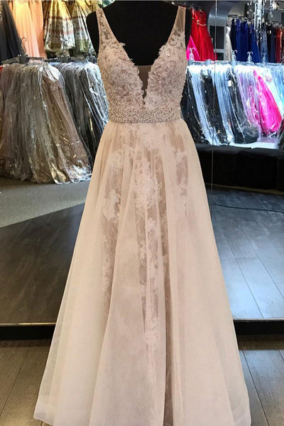 Chic A Line Deep V Neck Off the Shoulder Lace Prom Dresses Evening Formal Woman Dress LD979