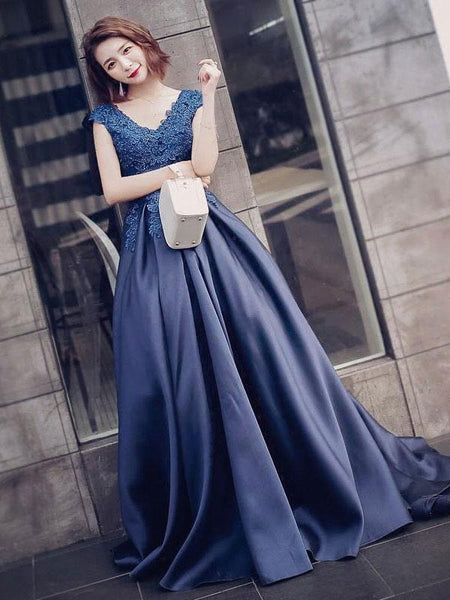 Cap Sleeves Dark Blue Lace Appliques Long Prom Dresses Evening Gowns Formal Woman Dress LD980