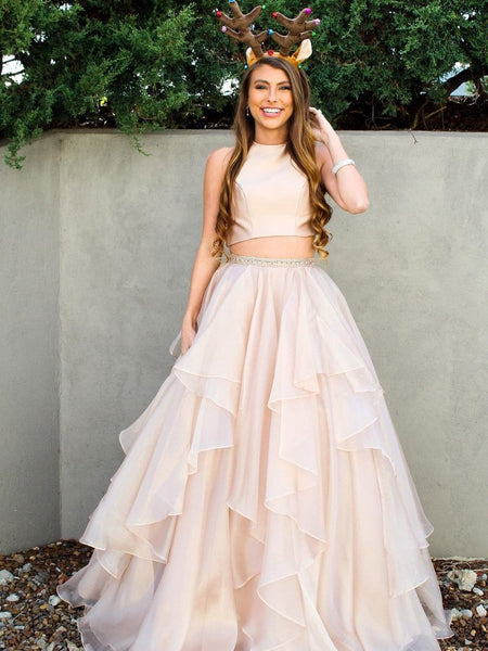 New Arrival 2 Pieces Skin Pink Tiered Hi-lo Long Prom Dresses Evening Formal Woman Dress LD982