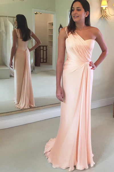 Fashion One Shoulder Ligth Pink Long Sheath Prom Dresses Evening Formal Woman Dress LD983