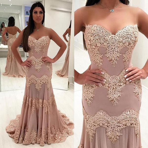 Lace Appliques Sweetheart Blush Pink Mermaid Long Prom Dresses Evening Formal Woman Dress LD984