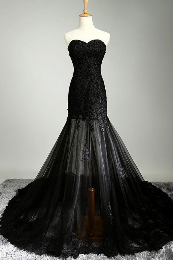 Black Lace Sweetheart Appliques Mermaid Prom Dresses Evening Gown Formal Woman Dress LD985