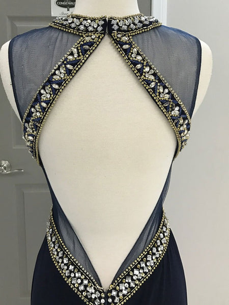 High Neck Open Back Rhinestones Navy Blue Mermaid Prom Dresses Evening Party Dress LD986