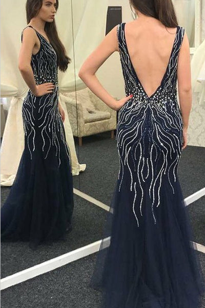 Chic Off the Shoulder Navy Blue Beaded Backless Mermaid Prom Dresses Evening Party Dress LD988