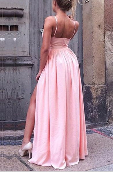 Fashion Spaghetti Straps V Neck Slit Pink Cheap Prom Dresses Evening Gowns Party Dress LD989