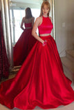 A Line 2 Pieces halter Bodice Red Elegant Prom Dresses Evening Gowns Party Dress With Pocket LD990