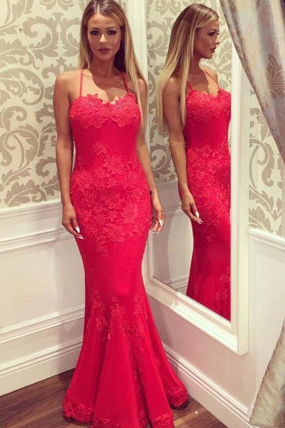 Red Lace Appliques Halter Mermaid Long Prom Dresses Evening Party Gowns Formal Dress LD993