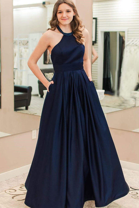 A Line Navy Blue Satin Empire Waist Pregnant Pocket Prom Dresses Party Gowns Formal Dress LD994