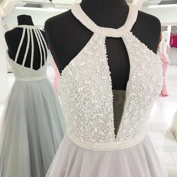 New Arrival Halter Backless Silver Beaded V Neck Prom Dresses Party Gowns Formal Dress LD995