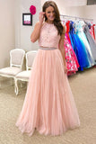 Two Pieces High Neck Pink Lace Tulle Long Prom Dresses Party Gowns Formal Woman Dress LD996