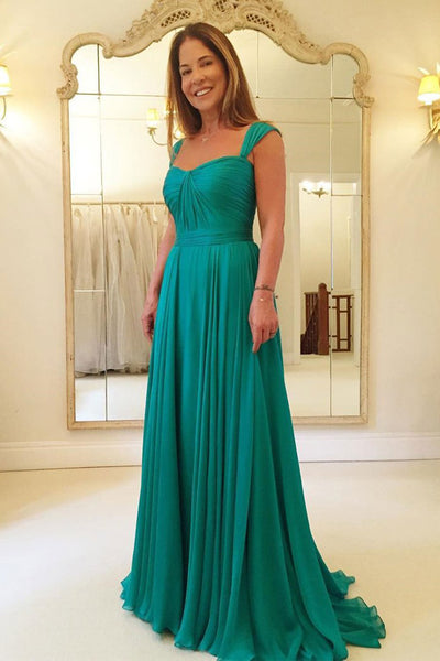A Line Emerald Green Chiffon Long Cheap Prom Dresses Formal Dress Bridesmaid Dress LD997