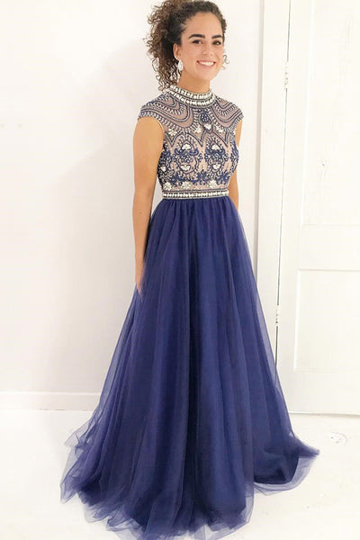 New 2018 High Neck Cap Sleeves Dark Blue Tulle Beaded Prom Dresses Evening Formal Dress LD998