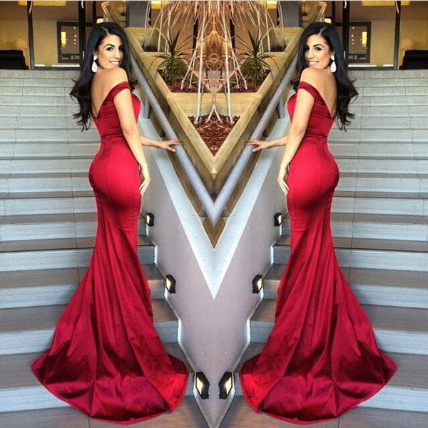 2016 Red Sexy Off Shoulder Fitted Bodice Low Back Trumpet Long Prom Dress #LF0013